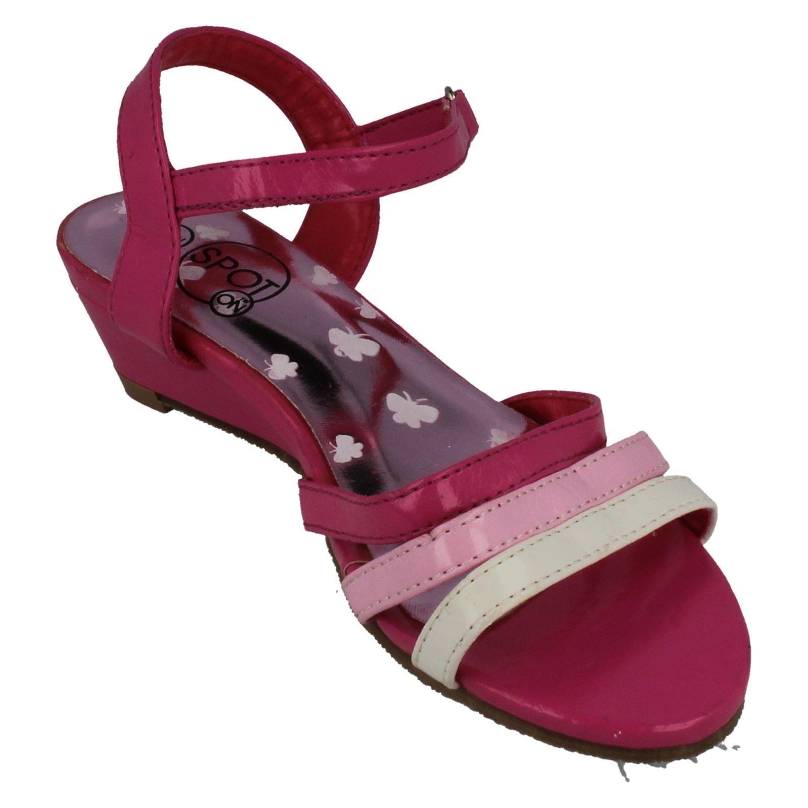Girls Spot On Ripetape Strap Wedged Ankle Strap Sandal Label H1004 ~ N