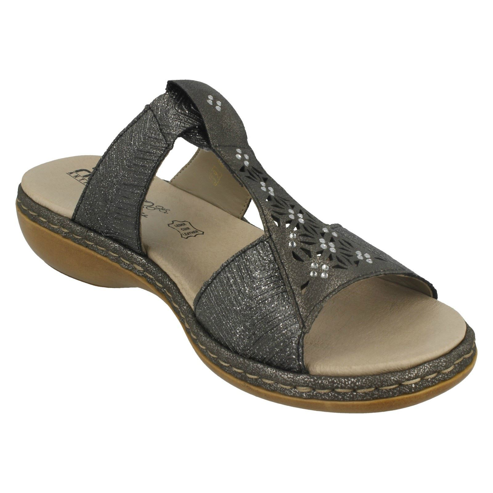 Damas Rieker Slip on Diamante Cortado Sandalias Etiqueta - 65950