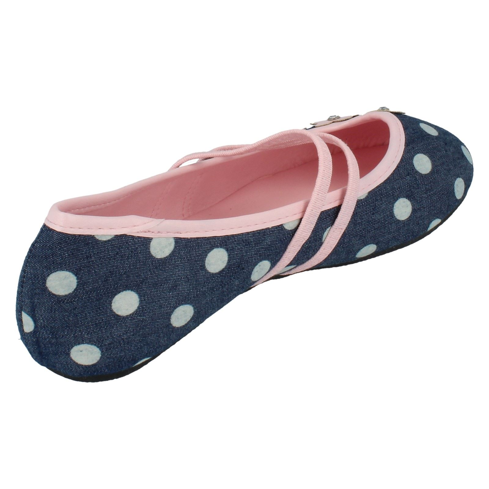 Girls Spot On Flat Dolly Shoes H2431 - D