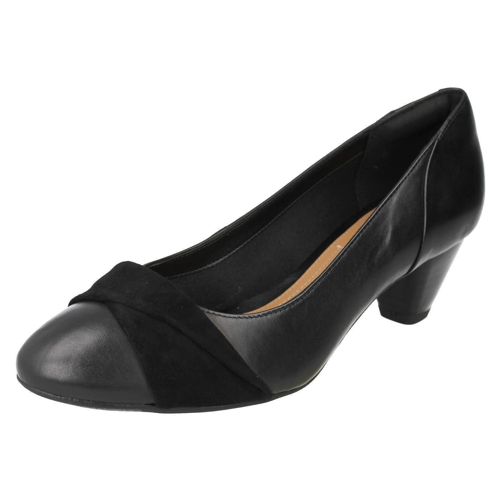 Ladies Clarks Formal UK Court Slip on HEELS Denny Louise UK Formal 6 schwarz ... f6486d