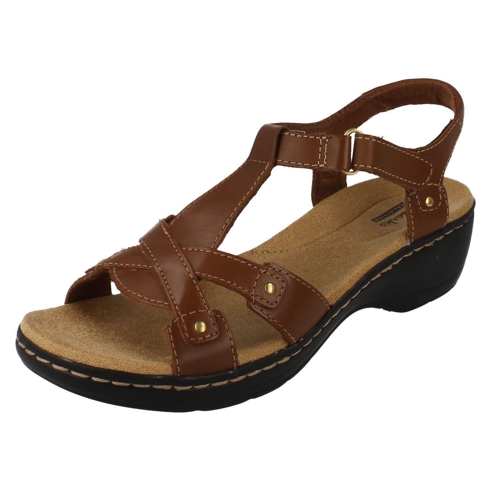 7d9b644d0 Ladies Clarks Leather Wedge Open Toe Summer Sandals Hayla Flute 3 UK ...