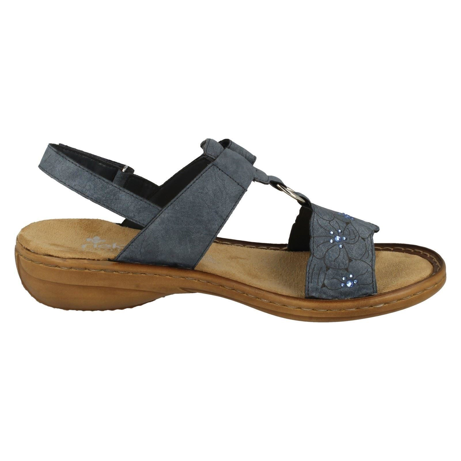 Rieker Ladies Wedge Sandals Blue 60843 Label 8dq1U