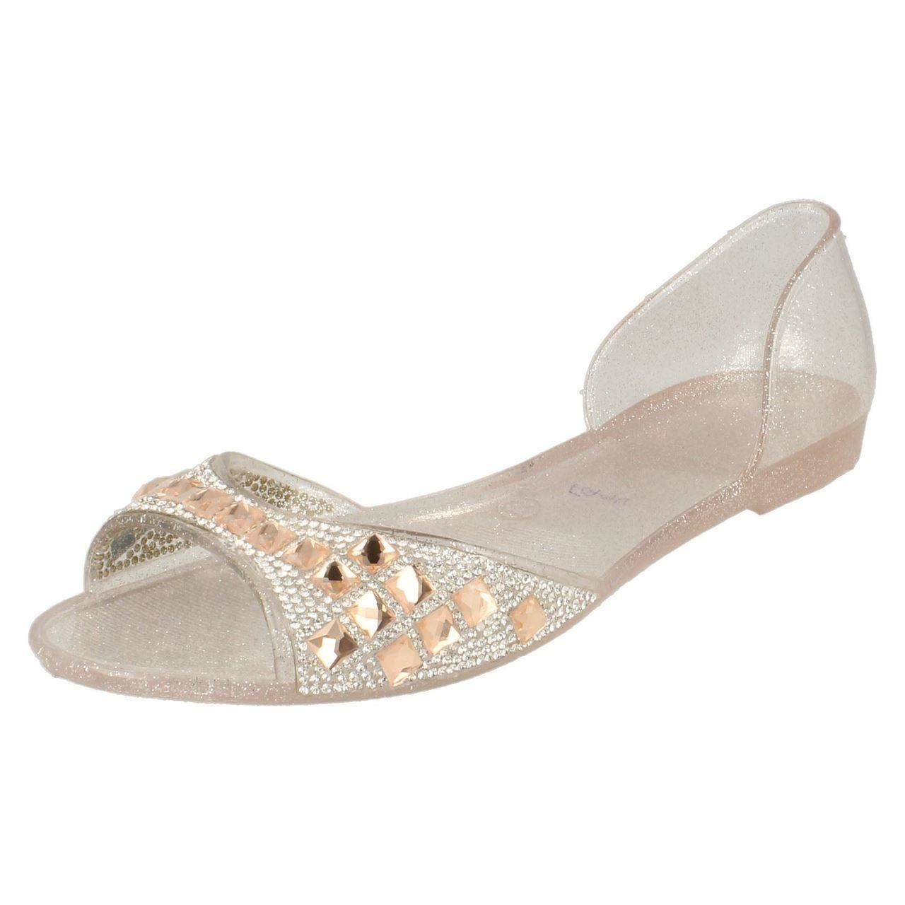 757574076e1c3 Spot on Ladies Open Toe Flat Ballerina Shoes With Jewelled Detailing ...