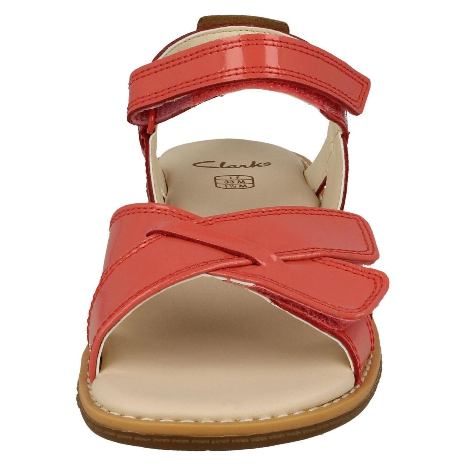 406bbd3251dfc Clarks Girls Darcy Charm Patent Leather Strappy Sandals UK 2.5 F Fitting  Coral (pink)