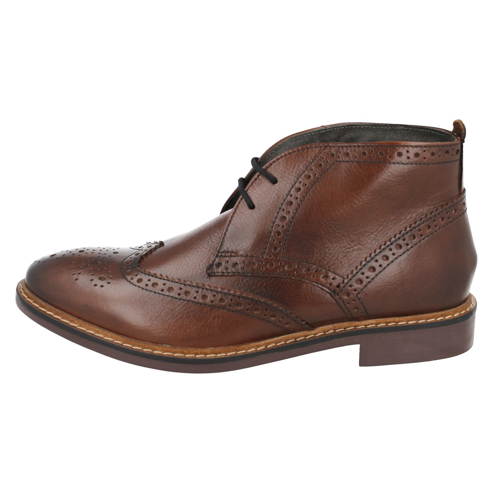 Mens Base Ankle London Leather Brougue Ankle Base Boots -The Style Trick 839ac0