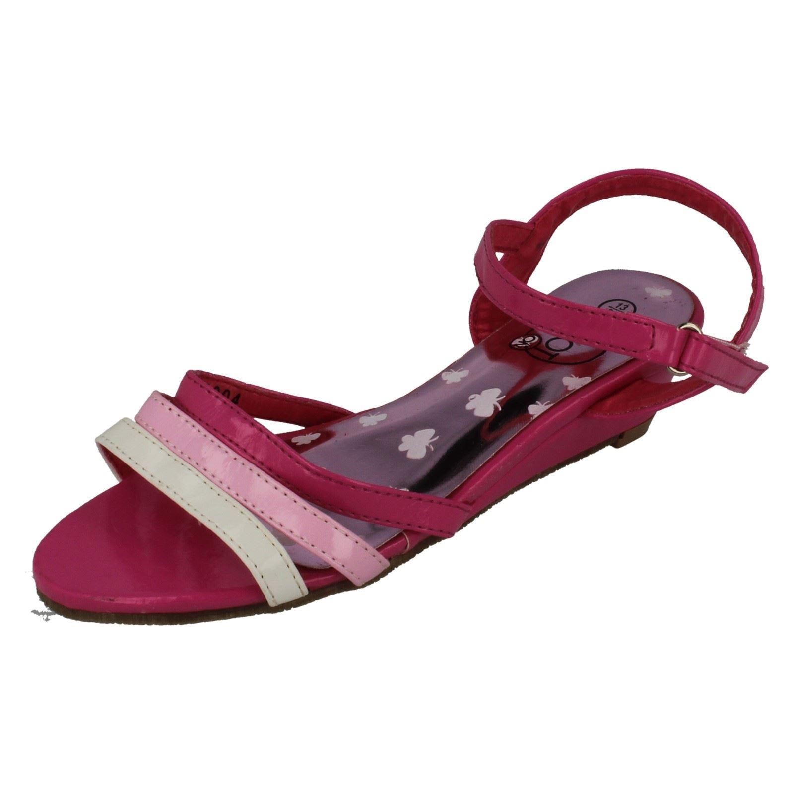 Girls Spot On Ripetape Strap Wedged Ankle Strap Sandal The Style H1004 ~ N