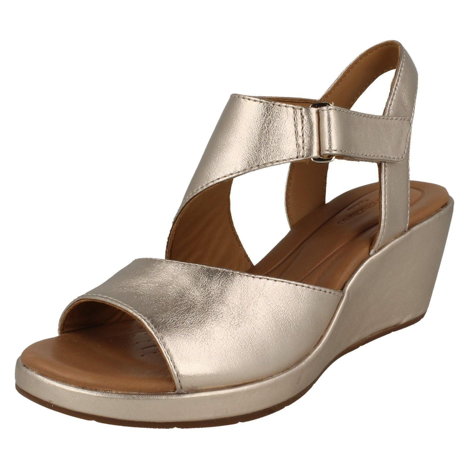 3b7f88b475 Ladies Unstructured by Clarks Wedge Heel Summer Sandals Un Plaza Sling Gold  Metallic UK 4 D. About this product. Picture 1 of 10; Picture 2 of 10 ...