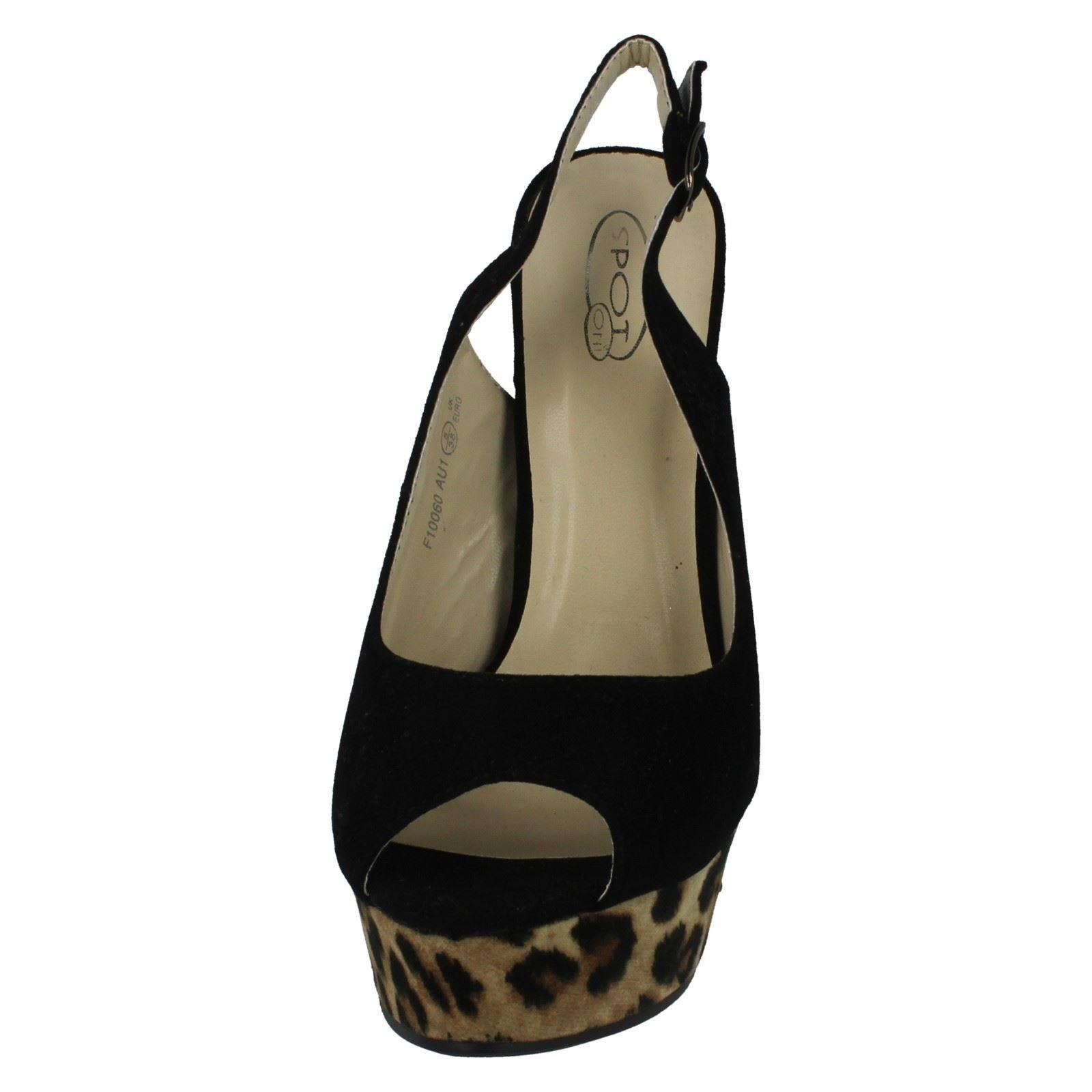 Damas Spot on Peep Toe ESLINGA vuelta Court Shoe estilo F10060 ~ N