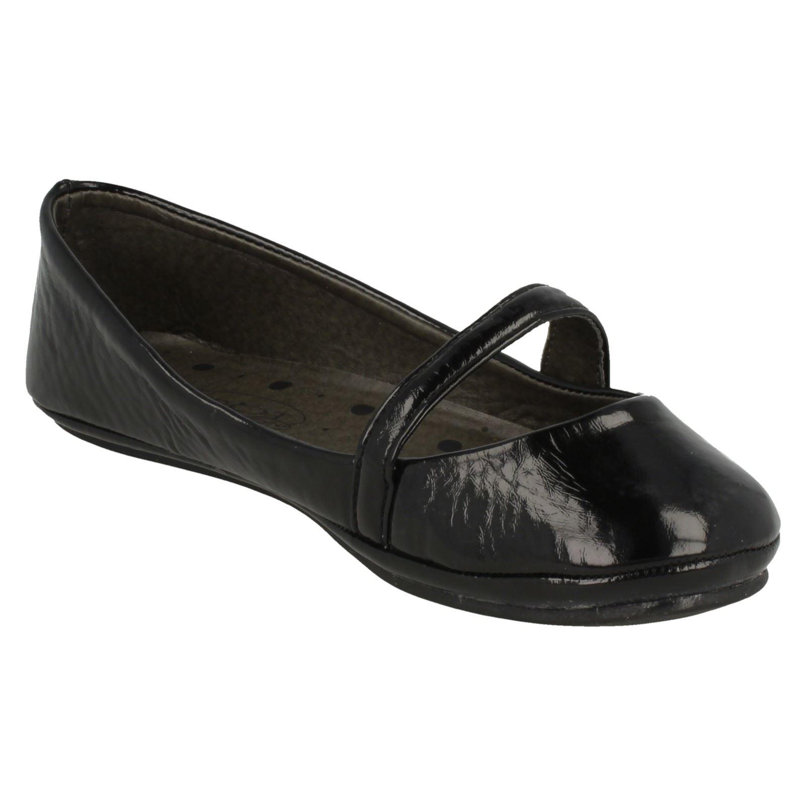 Girls Spot On Smart Synthetic School Shoes H2151 ~ K