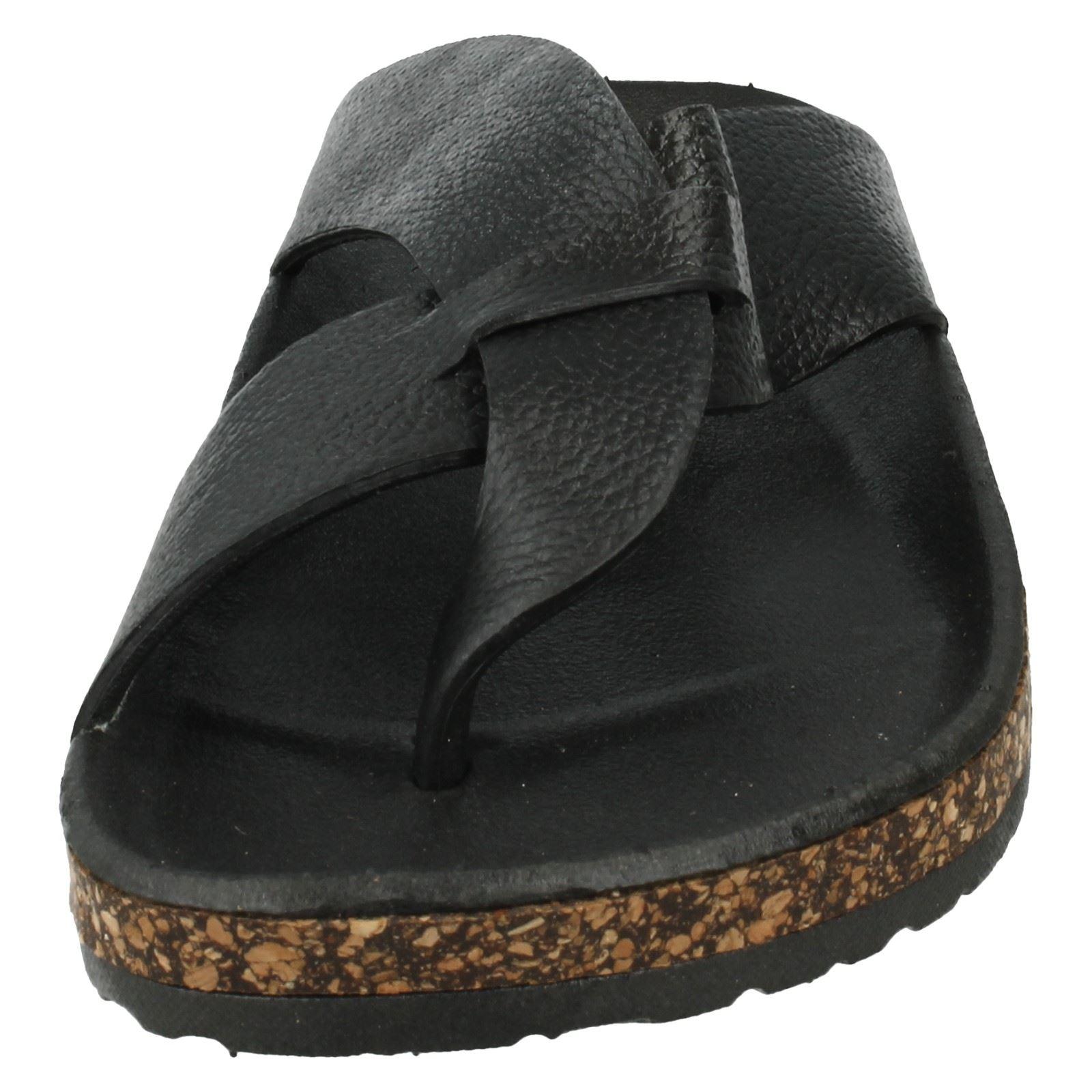 Para Hombres Sandalias Footbed Toepost Slip On con el estilo-A0034 Corcho Effect