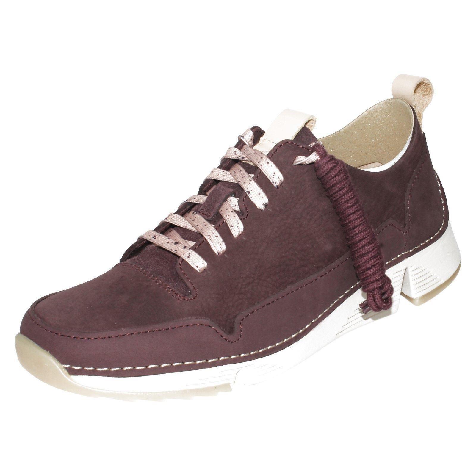 estilo con cordones de de Spark cuero Tri para deporte Zapatillas casual mujer Aubergine Clarks HqwXanzg