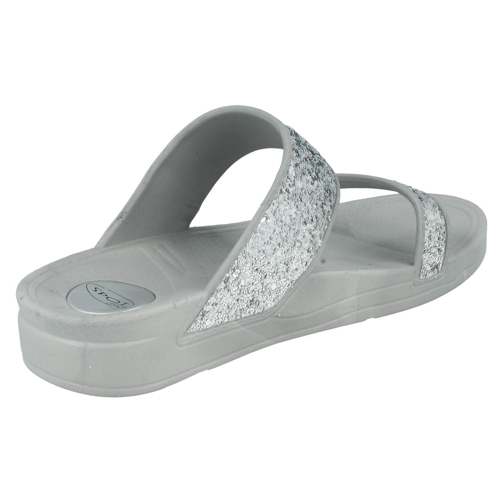 Señoras Brillo Slip On Mula Sandalia Spot On Estilo-F10268