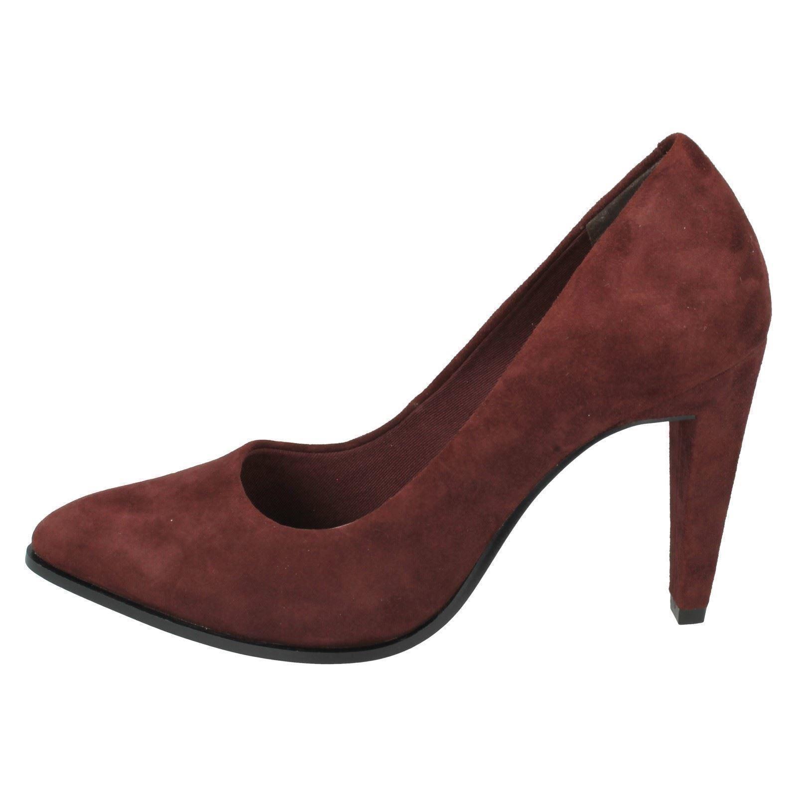 Ladies Label Clarks Suede Azizi Poppy Shoes Burgundy Court PPBxaqOr