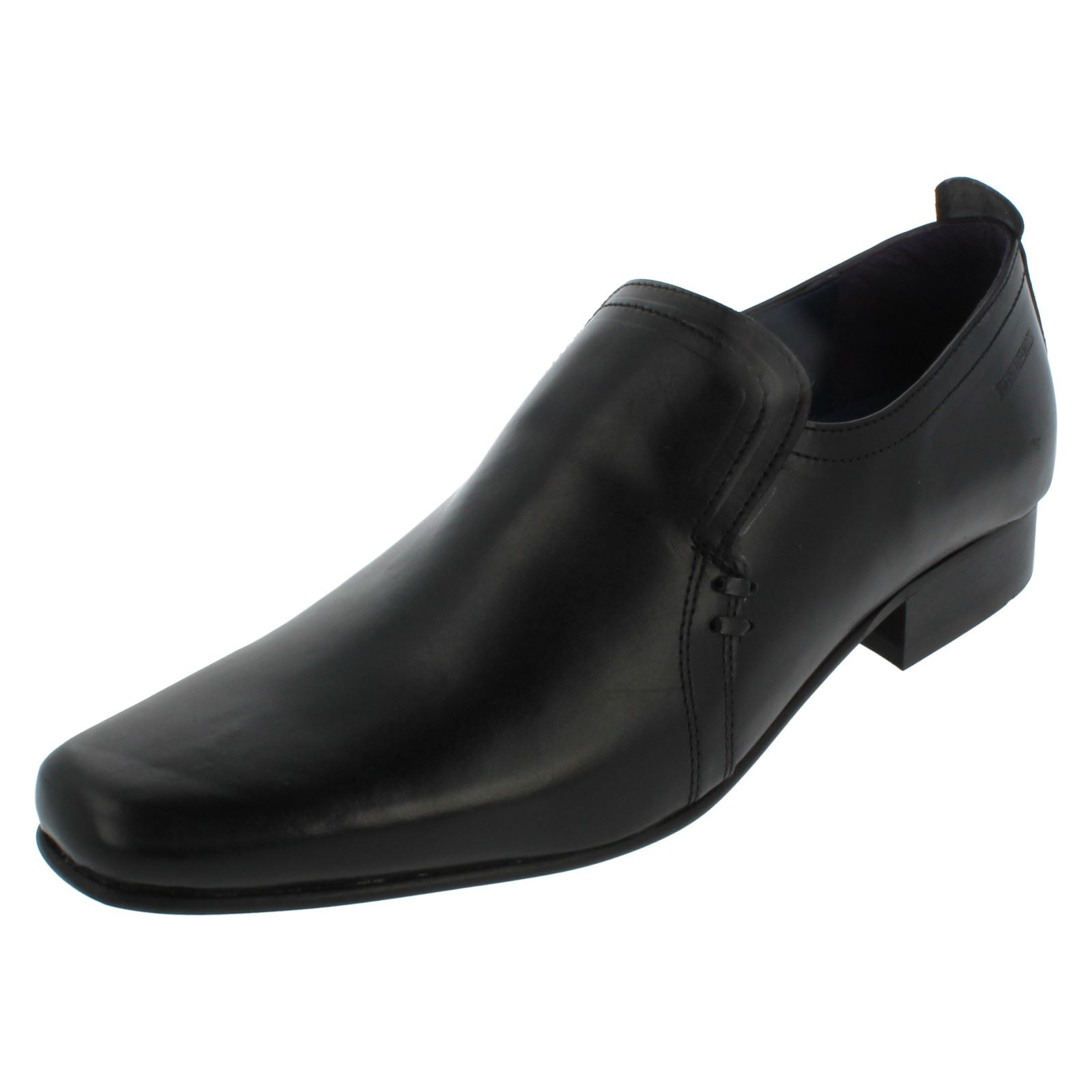 Para hombre Giovanni negro Slip On Smart formal trabajo cómodo zapatos, color Negro, talla 45
