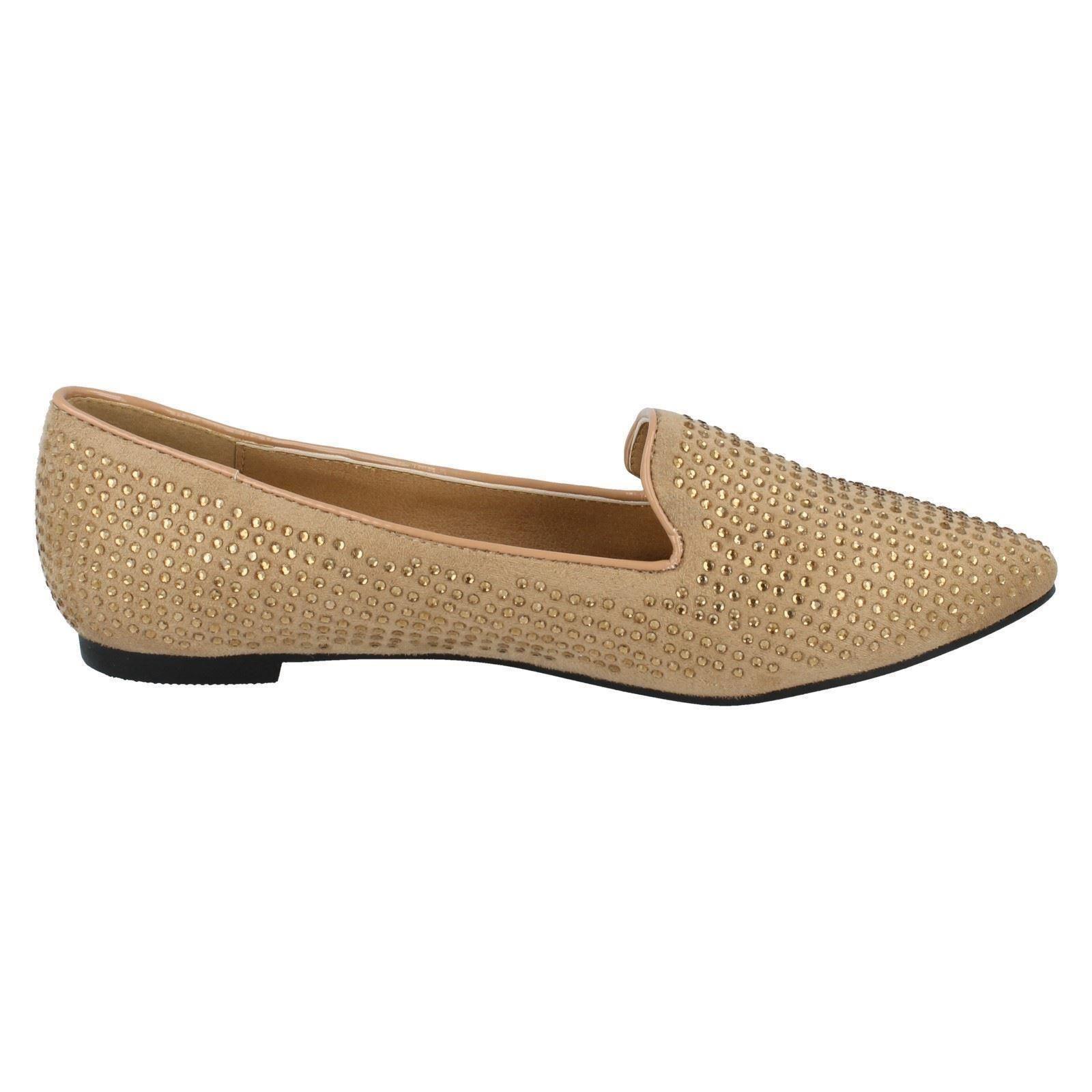 Señoras de punto en Plana Slip On Zapatos Etiqueta f8897