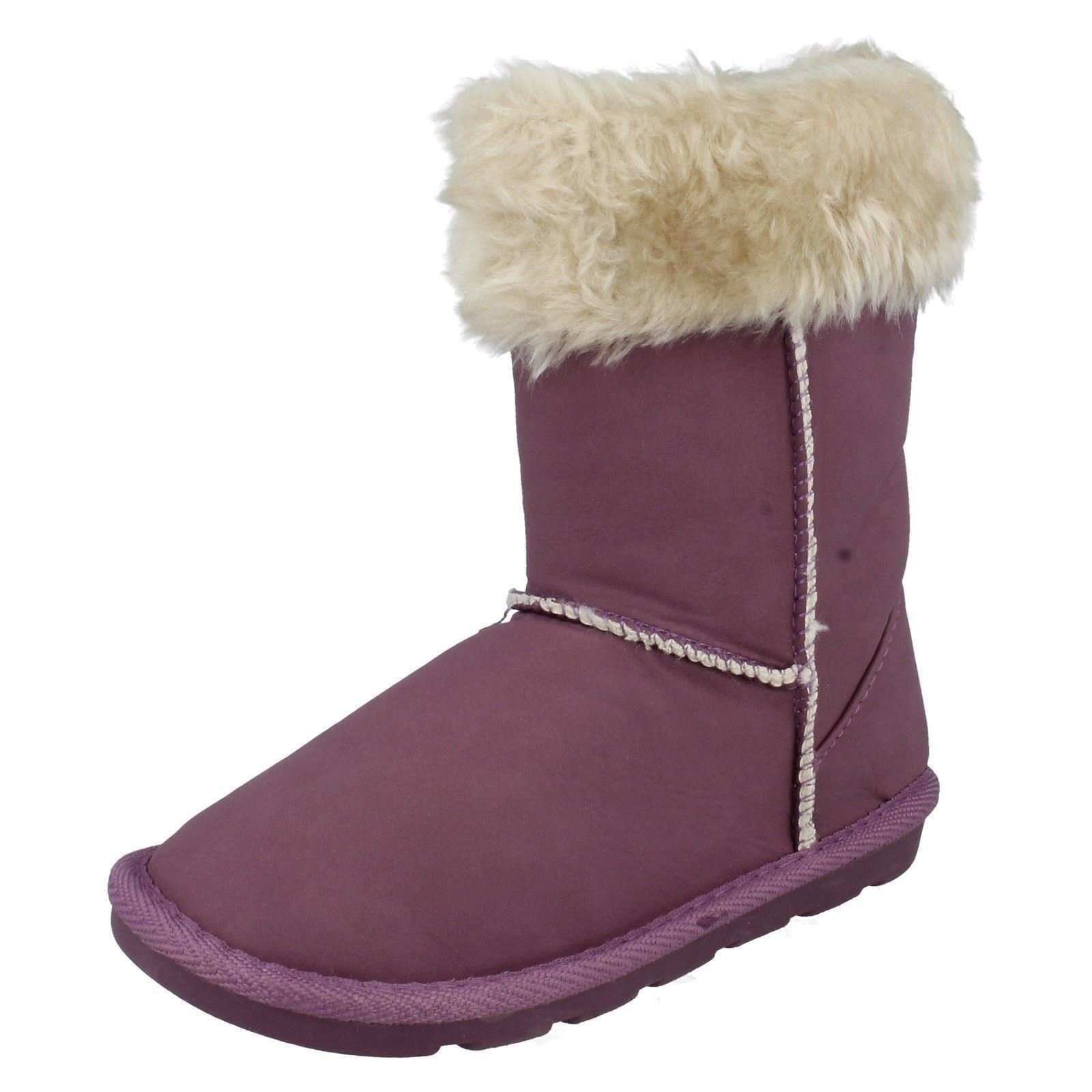 Girls Spot On Boots With Faux Fur Trim H4097