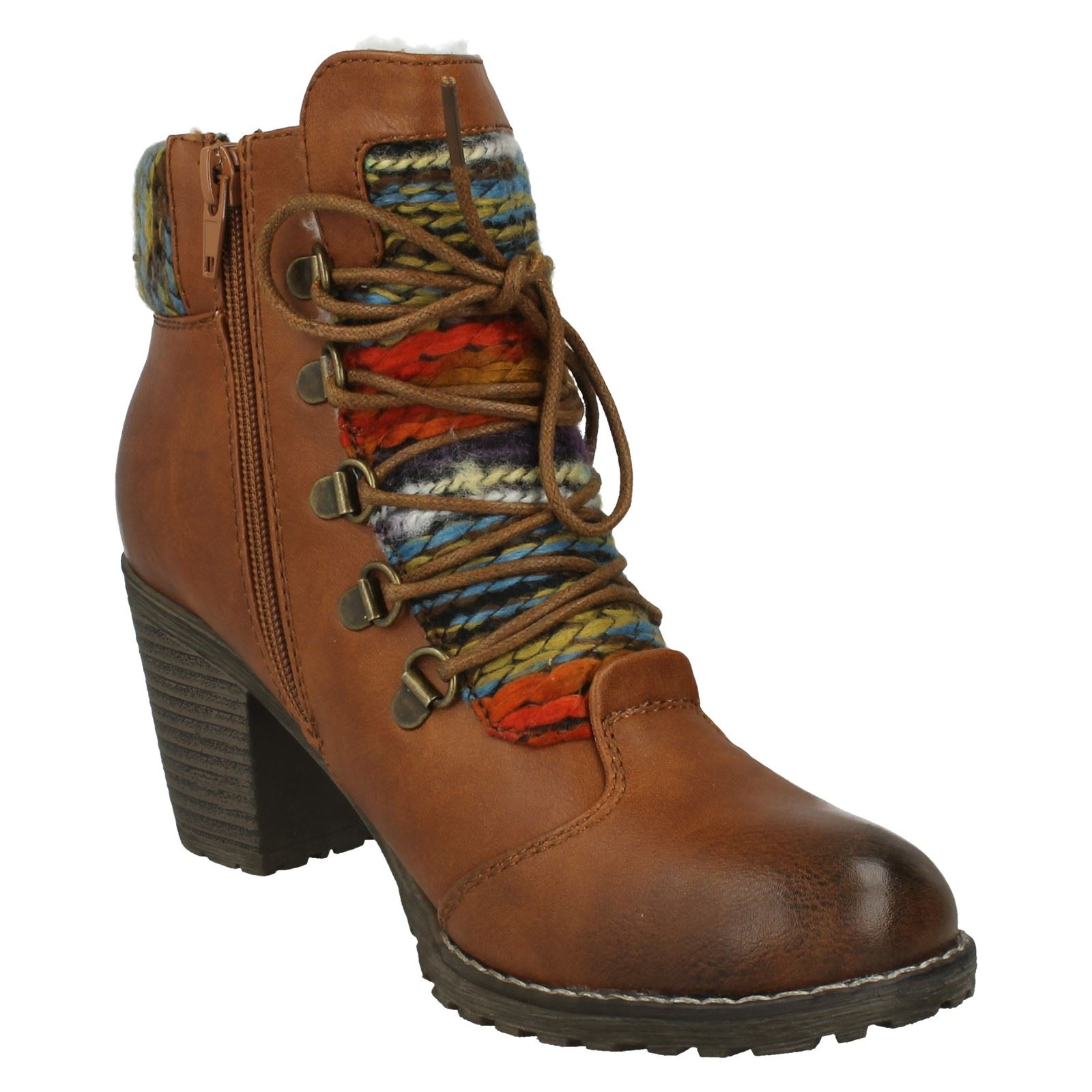 Ladies Rieker Knitted Cuff Fashion Lace Up Boots Label -  95323