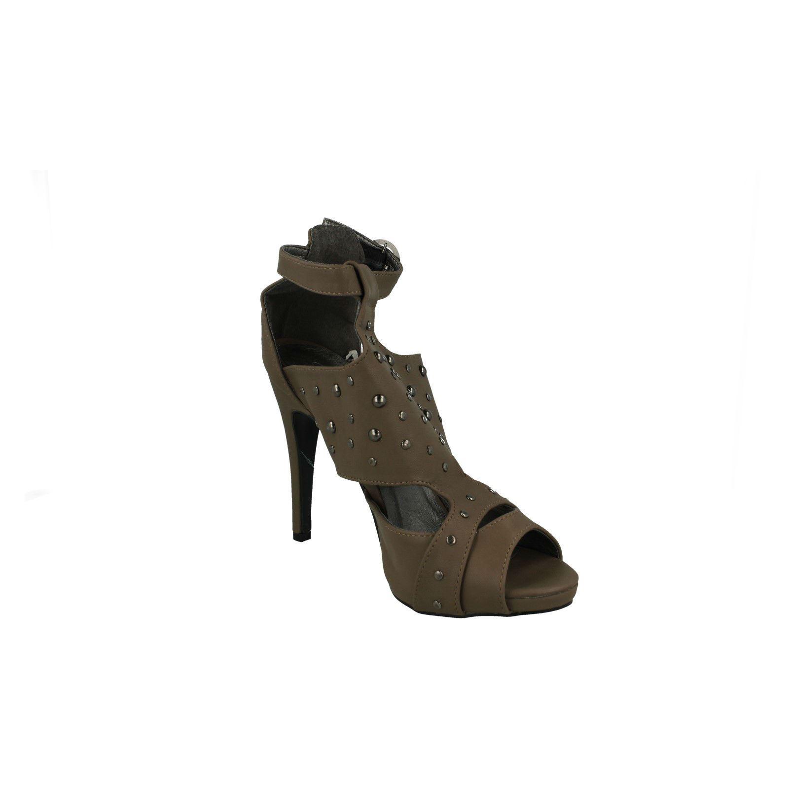 Damas Spot On Puntera Abierta Court Shoe Etiqueta F1724 ~ N