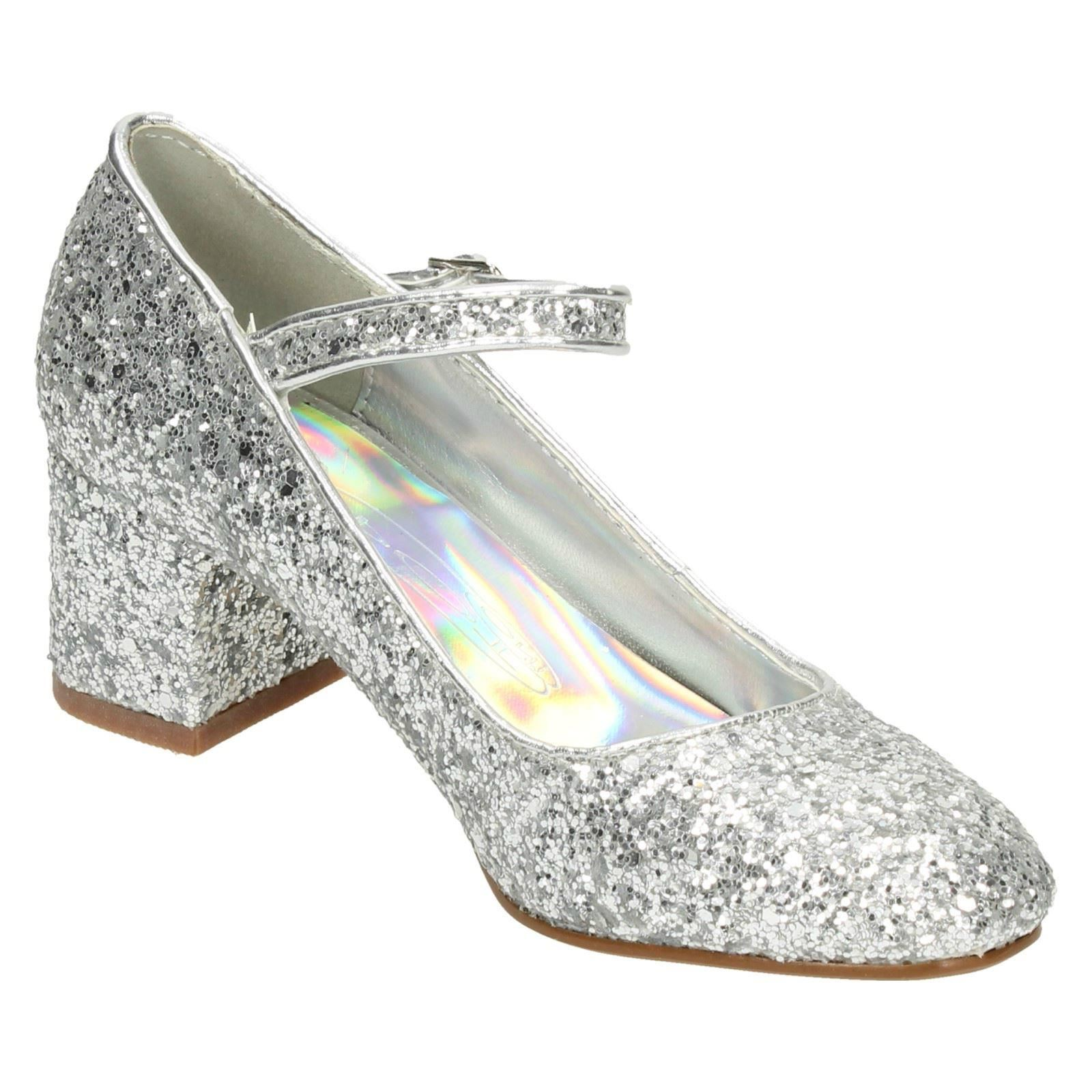 Girls Spot On Glittery Party Shoes Label-H3057