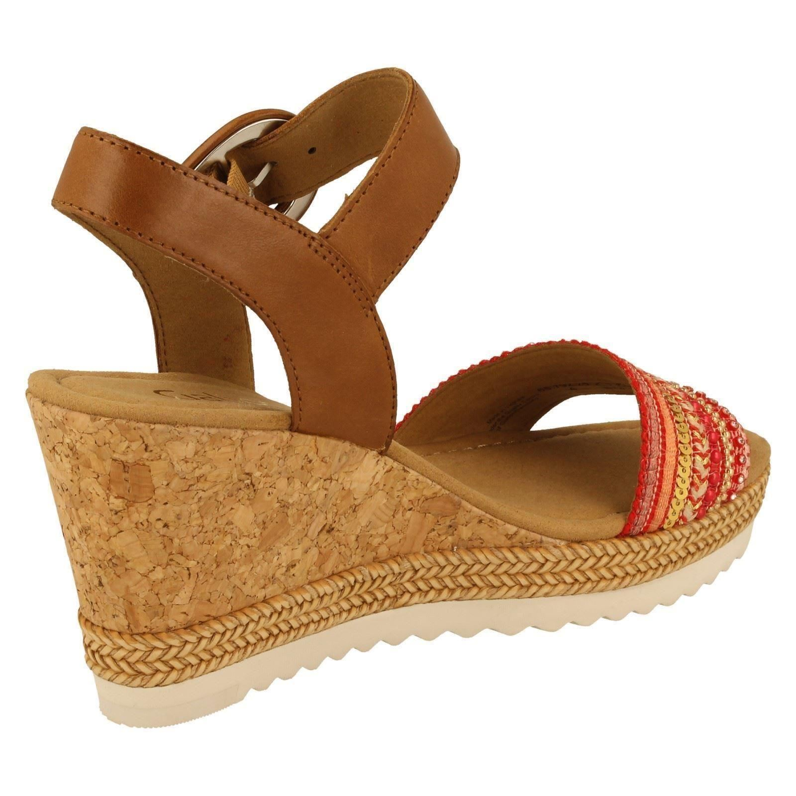 Gabor Peanut Ladies rosso oro Wedge Style Sandals 65792 w A7qdY7