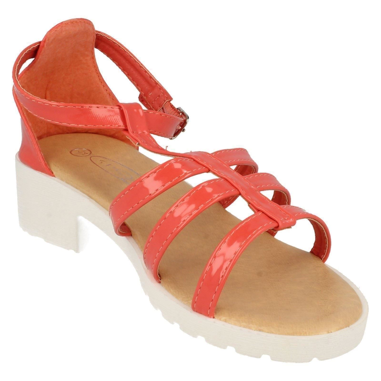 Girls Spot On Heeled Strappy Sandals The Style H1065 ~ N