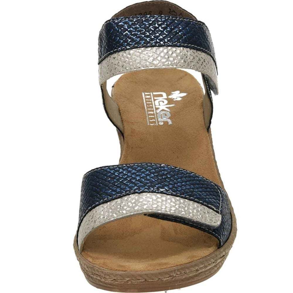 Ladies Rieker 62470 Wedge Combi Blue Sandals rrY0x