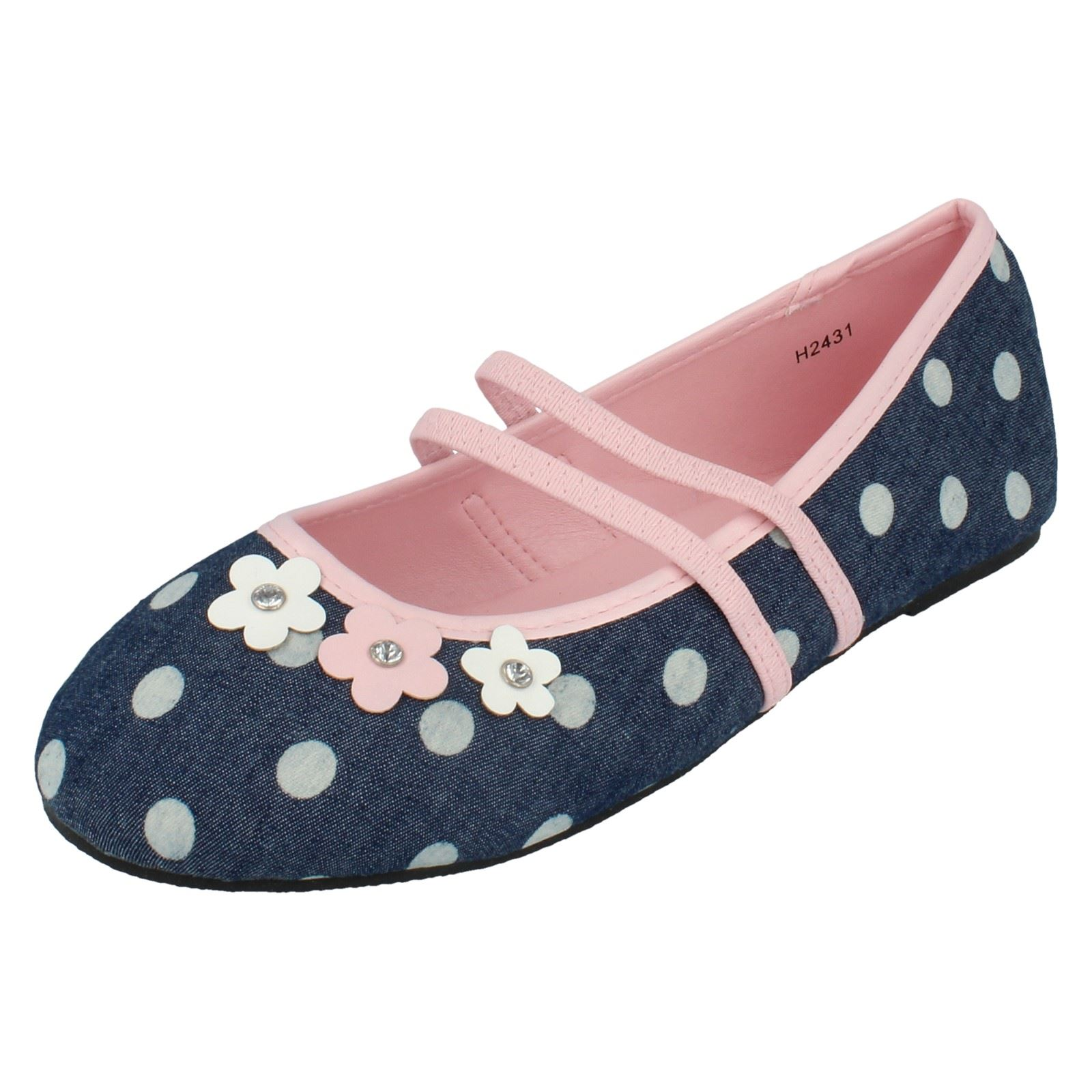 Girls Spot On Flat Dolly Shoes Style - H2431 - D