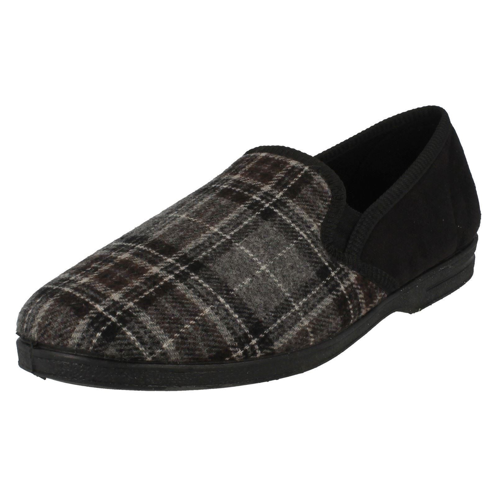 MENS FULL SLIPPER SLIP ON X2013 NAVY CHECK