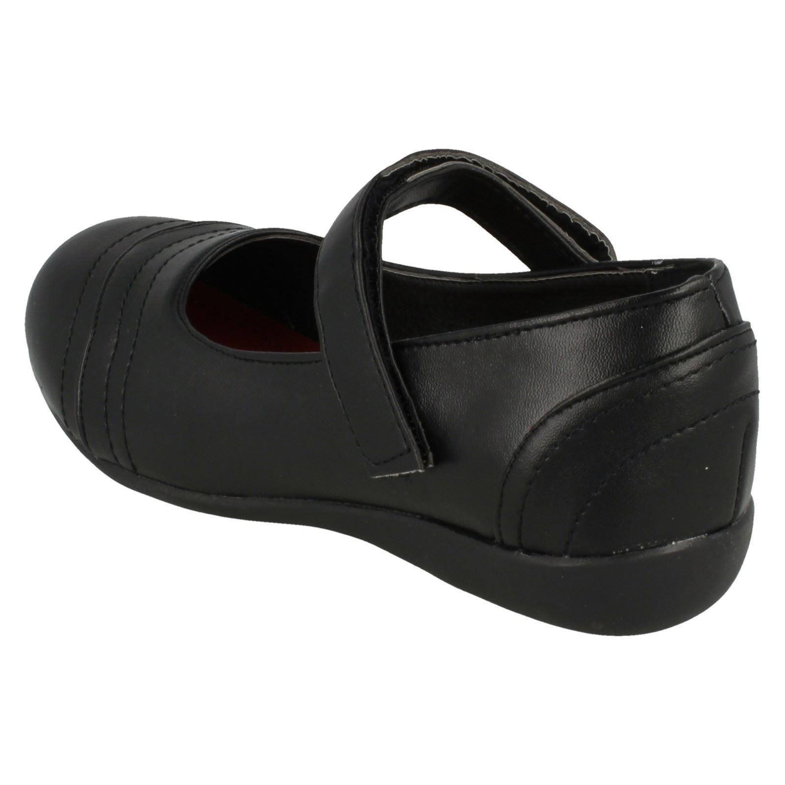 Niñas Punto en Negro Zapatos De Escuela sintético estilo H2278 ~ K