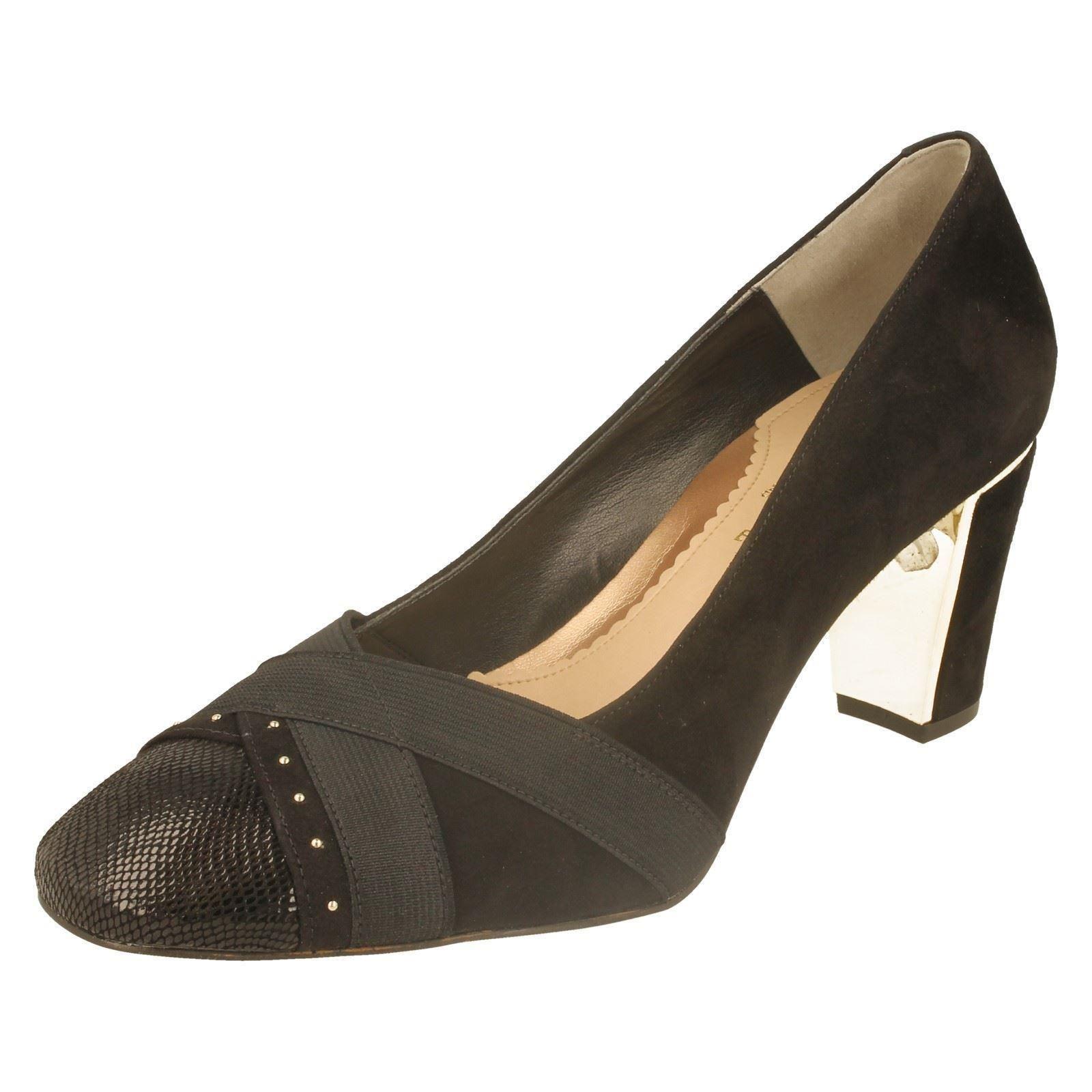 Label w Prt Ash Van Dal Court reptile Ladies black Black Suede Shoes IYqvU