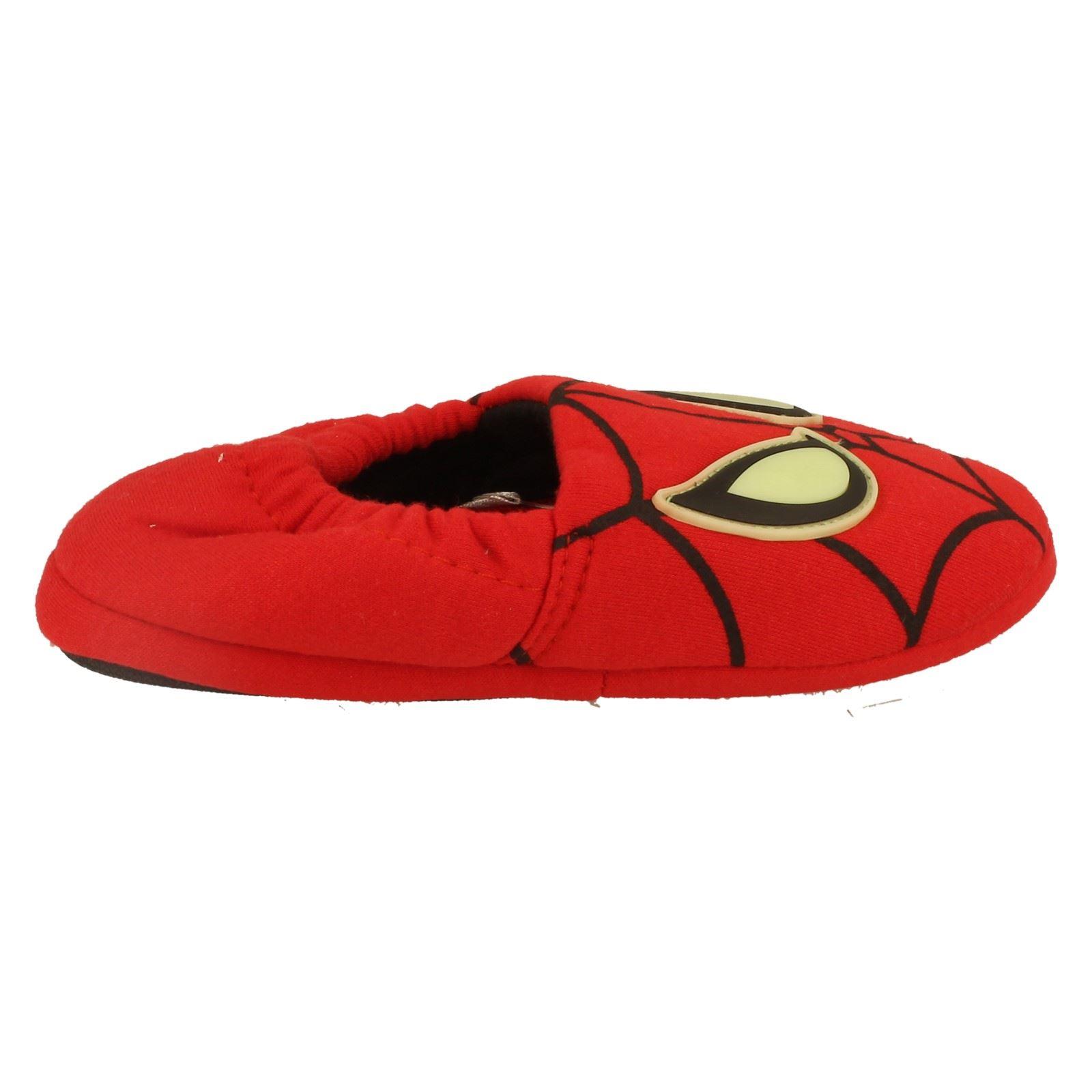 Chicos Spiderman Mula Pantuflas Estilo brillan en la oscuridad-W