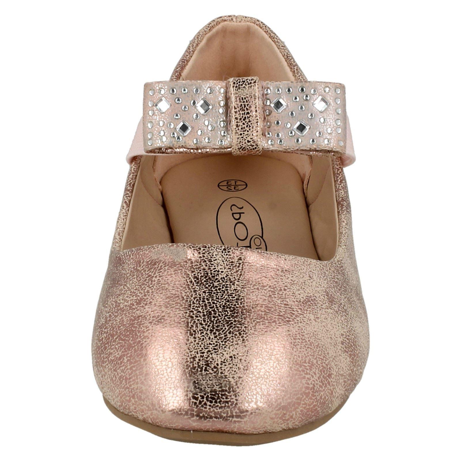 Girls Spot On Flat Ballerina Shoes H2380 - D