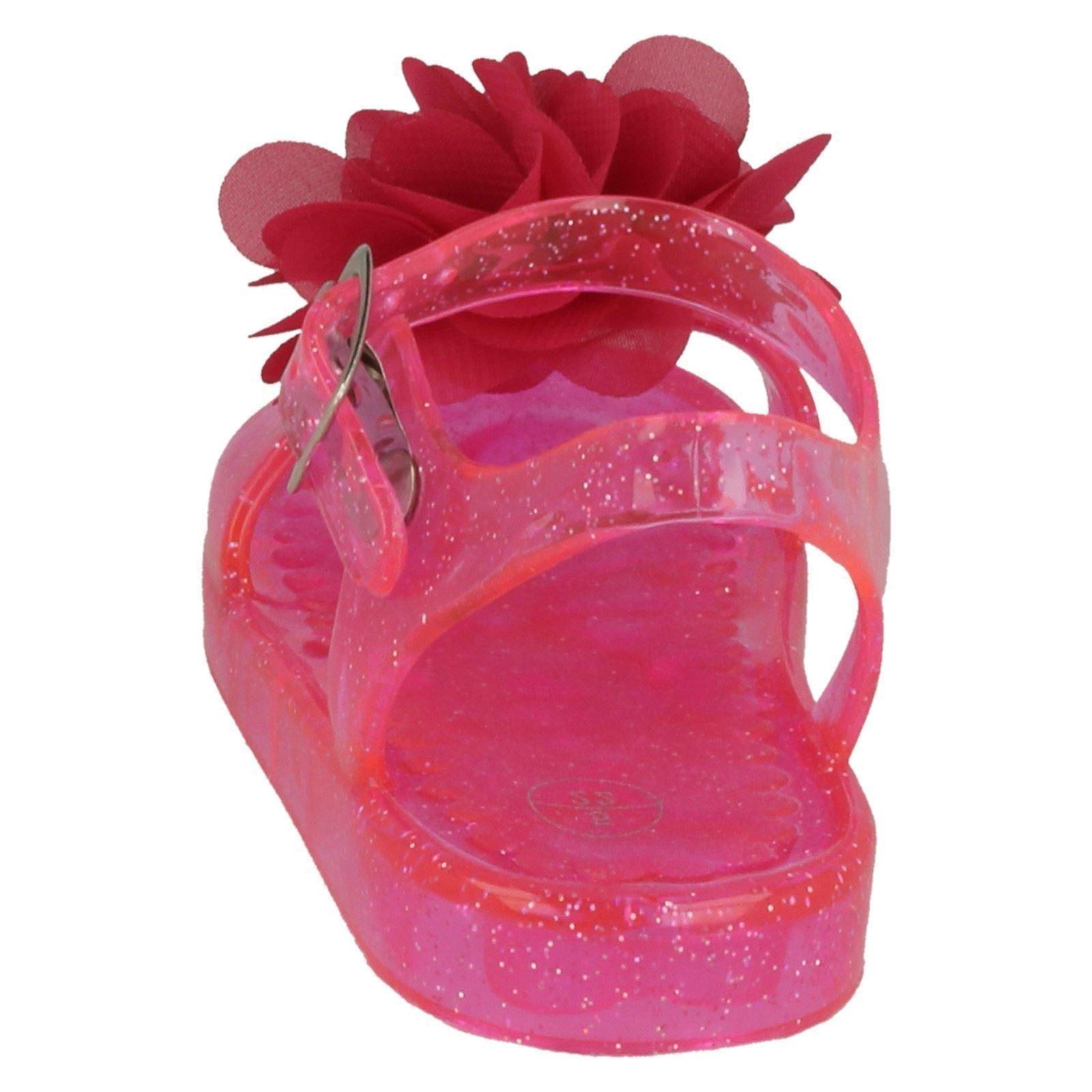 Niñas Punto En Detalle Flor Brillo Jalea Sandalias H0134-D