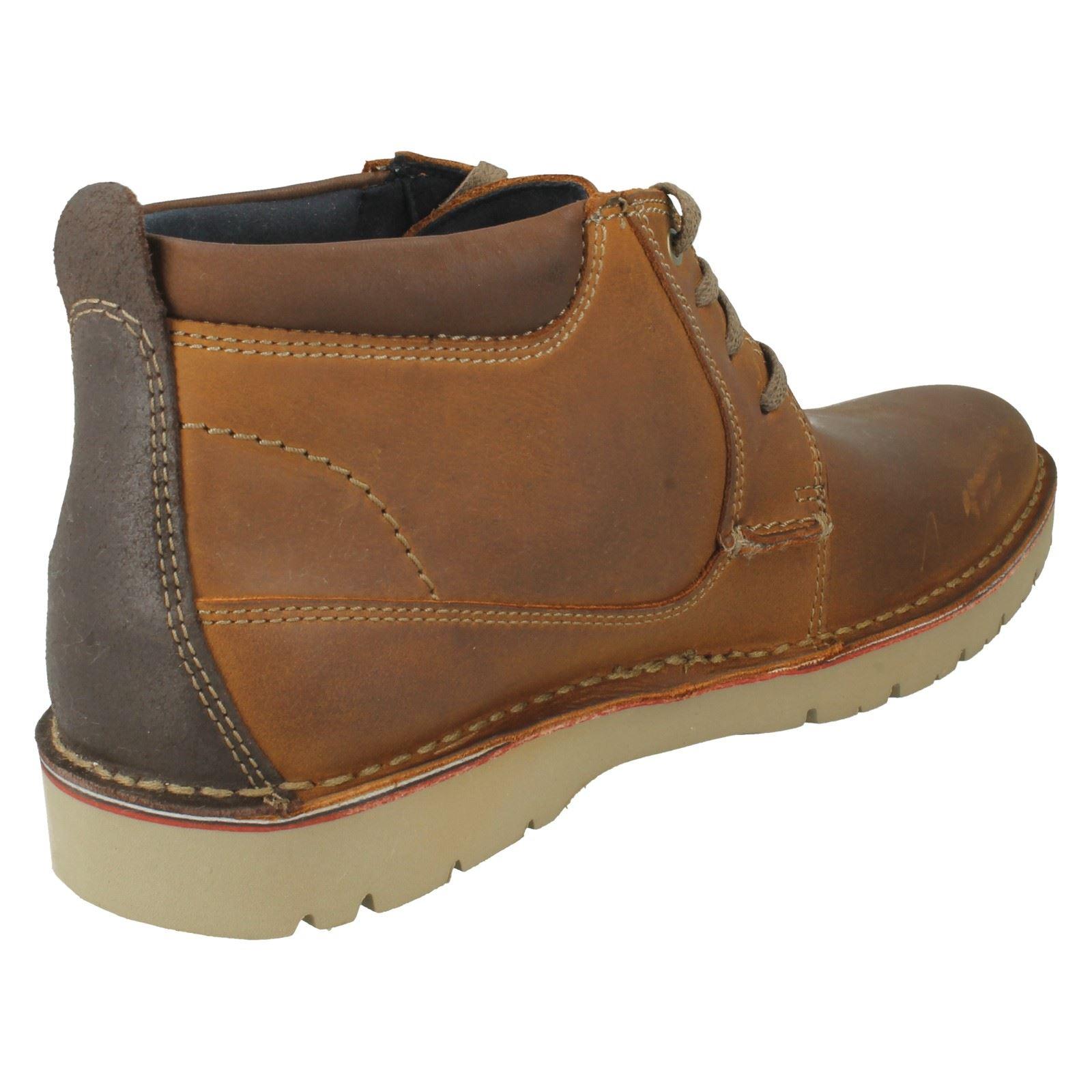 Herren Clarks - Leder Lace Up Ankle Stiefel Style - Clarks Vargo Mid 9037e3