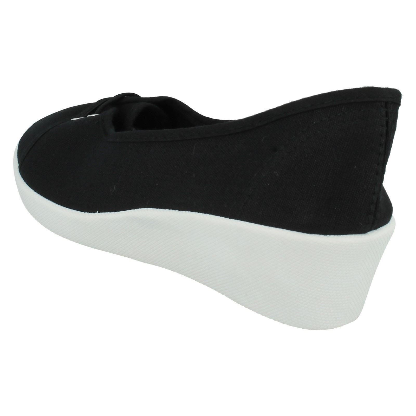 Woman's Spoton Con Cordones Cuña Lona Zapatos Estilo-F9721