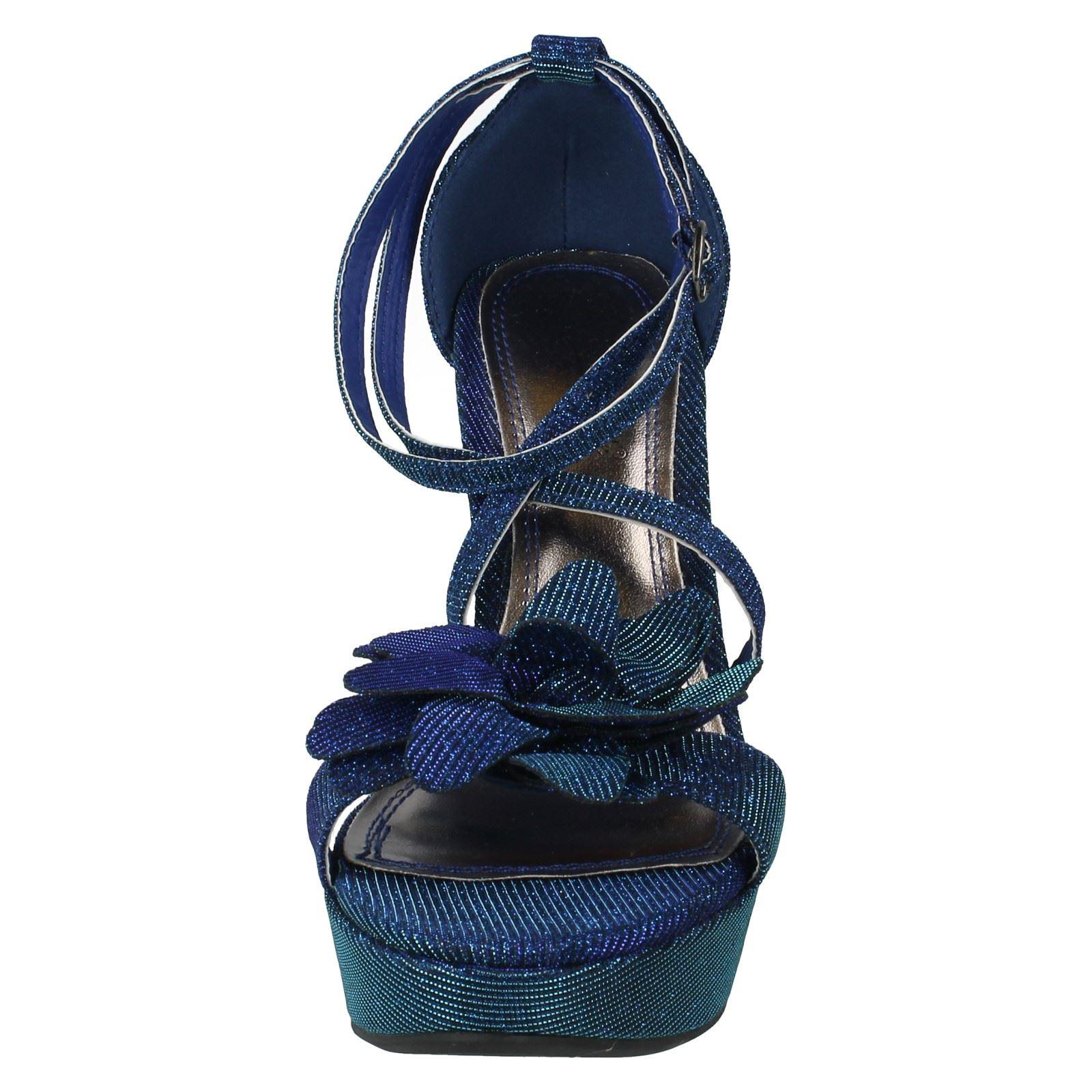 Señoras Anne Michelle alto talón sandalias Etiqueta-l3374