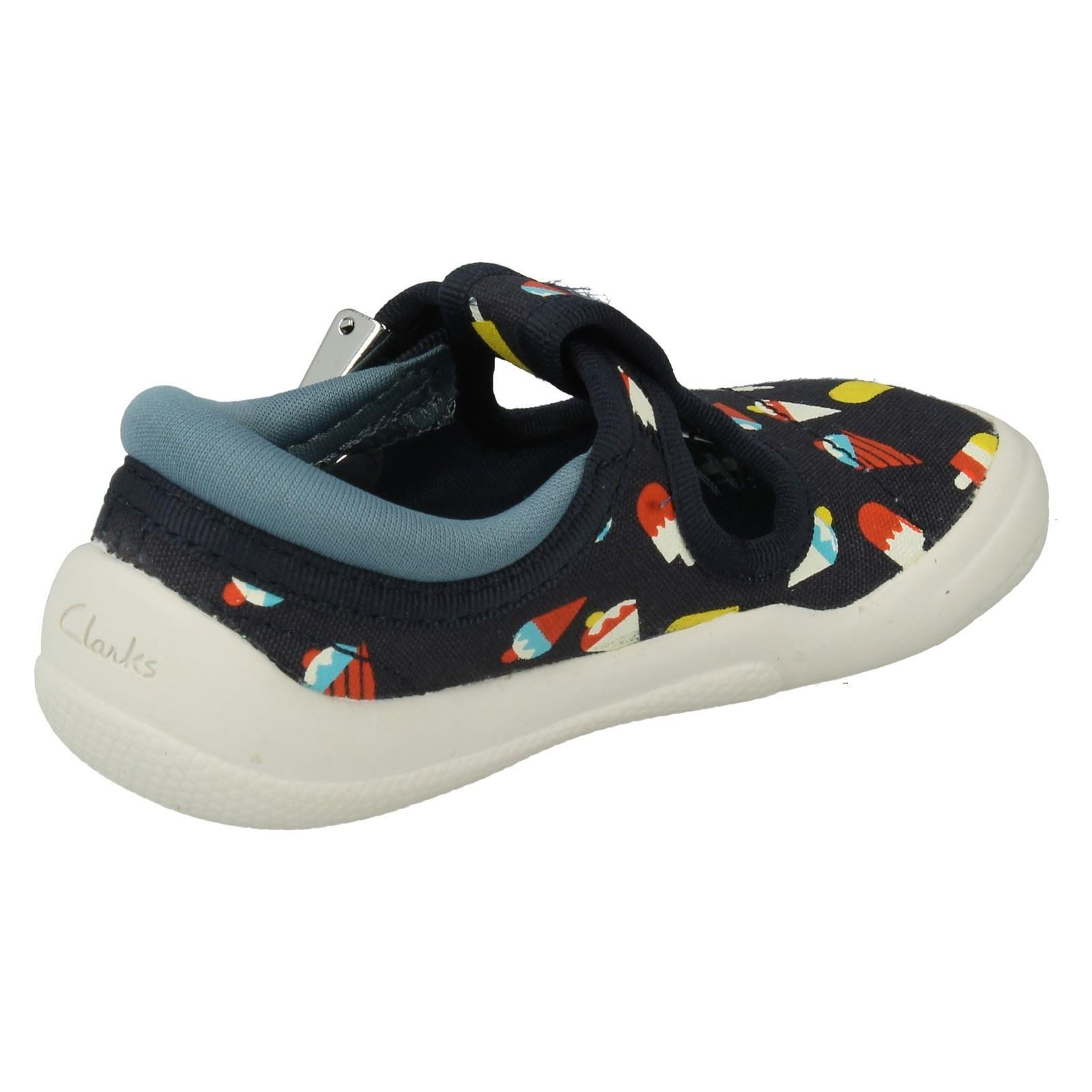 Boys Clarks Canvas First Shoes Style -Briley Sky