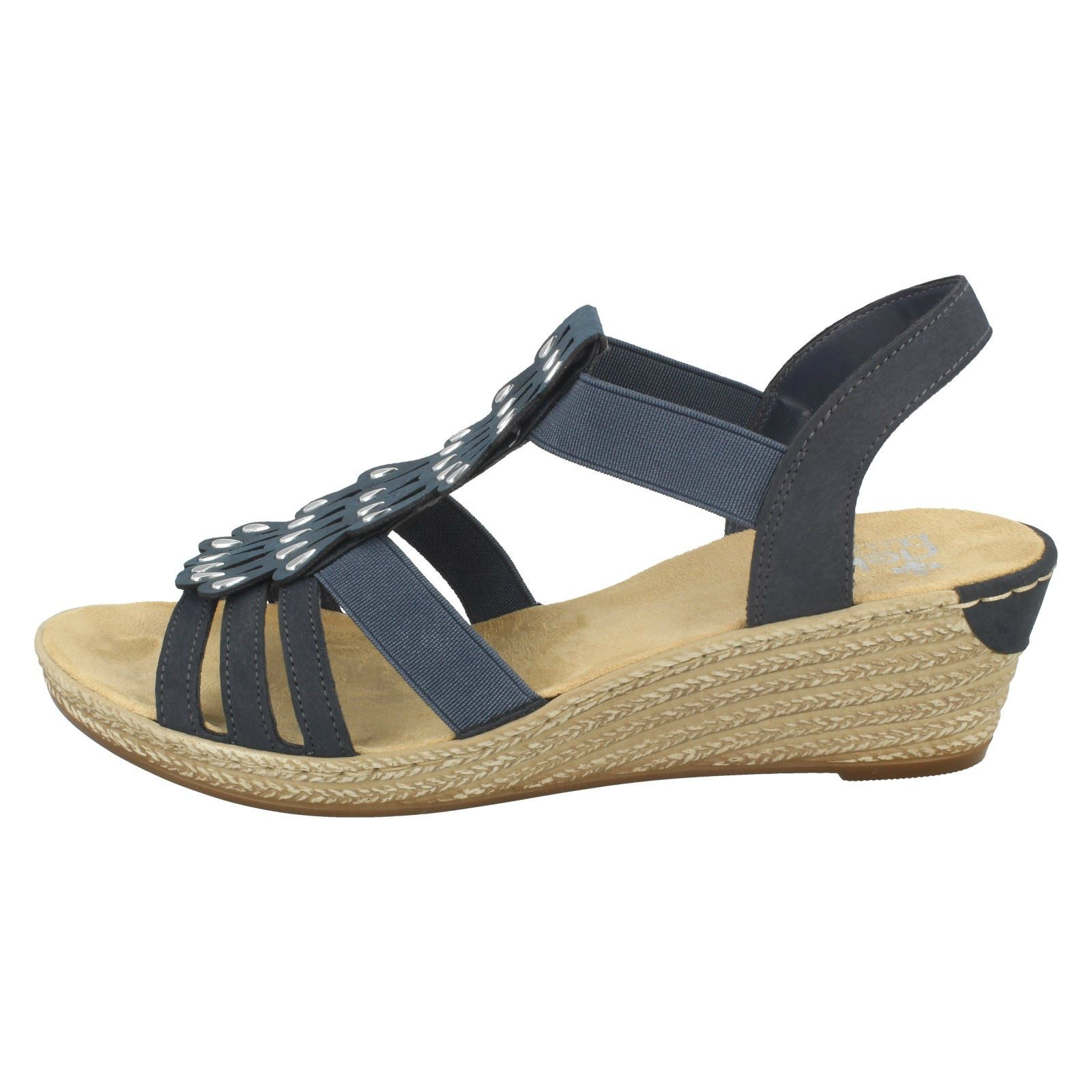 Blue Wedge Sandals Rieker Label Ladies 62436 Pwg7O60q