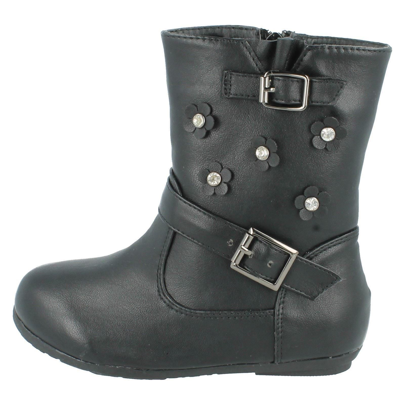 Girls Spot On Boots With Floral Detail Style - H4106