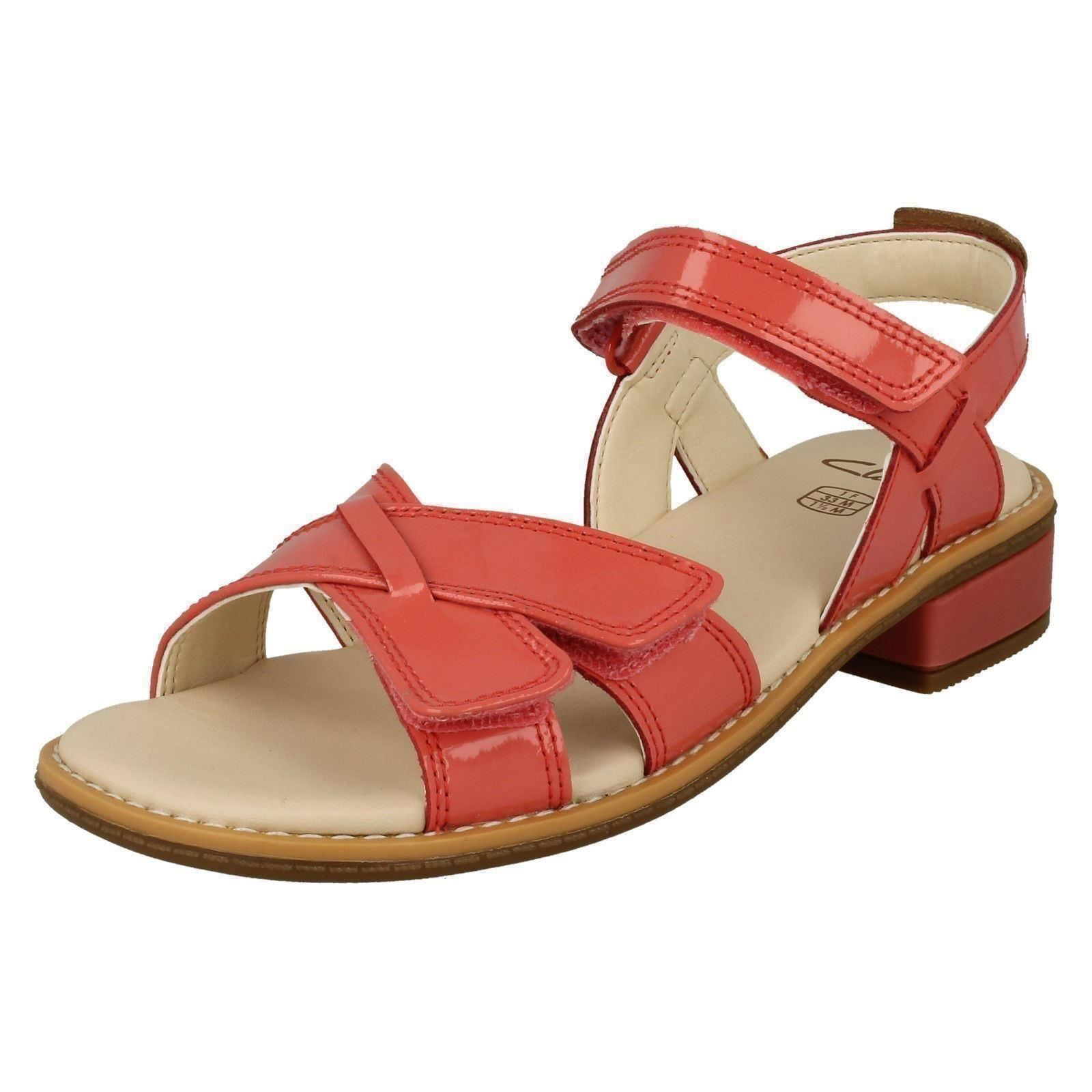 5d44a5d5bd44 Clarks Girls Darcy Charm Patent Leather Strappy Sandals UK 12.5 Kids F  Fitting Coral (pink). About this product. Picture 1 of 8  Picture 2 of 8 ...
