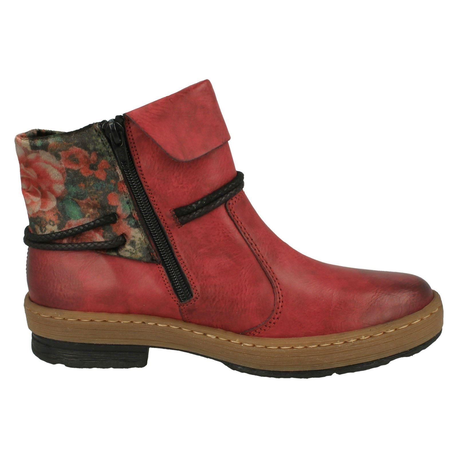 Rieker Fleece Ladies Red Boots Z6771 Ankle Lined Zip Warm Casual dAw6gqIwf