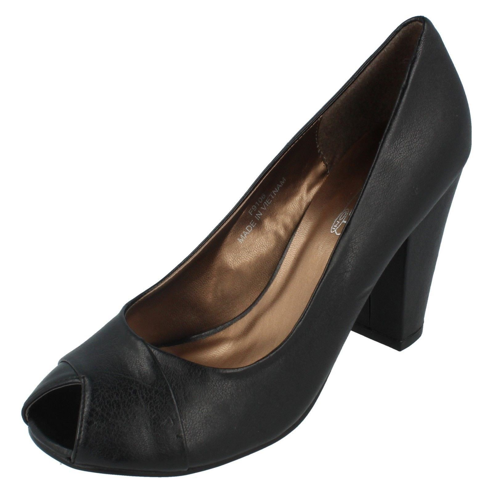 Damas Spot on resbalón en Punta Abierta Zapatos Etiqueta F9106 ~ N