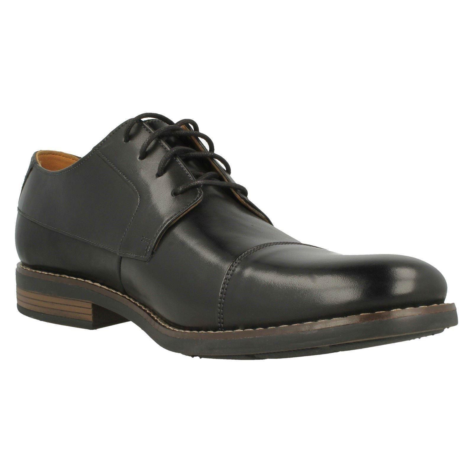 Uomo Clarks Schuhes Lace Up Leder Smart Toe Cap Schuhes Clarks Becken Cap 22c2af