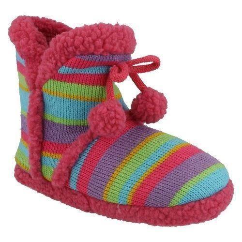 Girls Spot On Multicoloured Boot Slippers X2038 Style ~ K