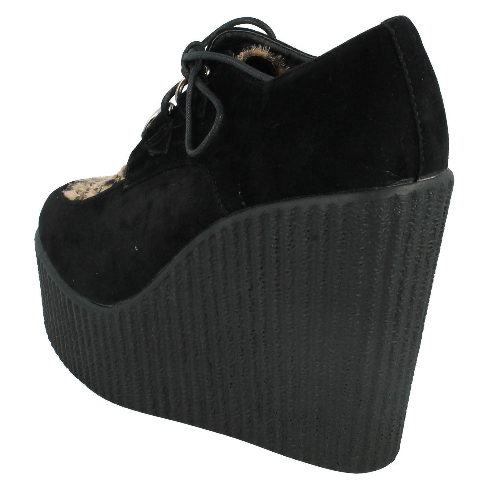 Señoras Spot On De Cuña Tacón Alto zapatos de estilo-f9593