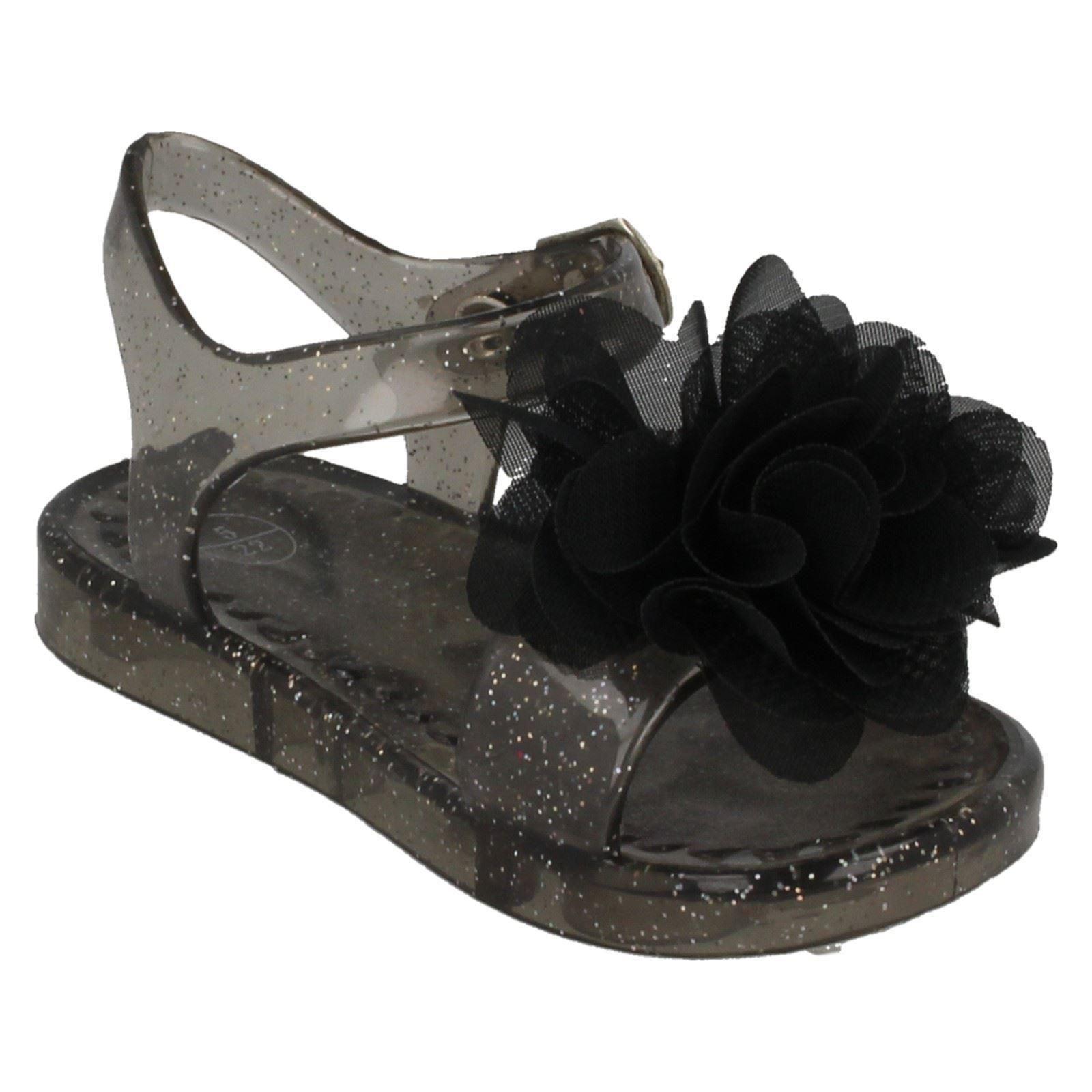 Girls Spot On Flower Detail Glitter Jelly Sandals H0134 - D