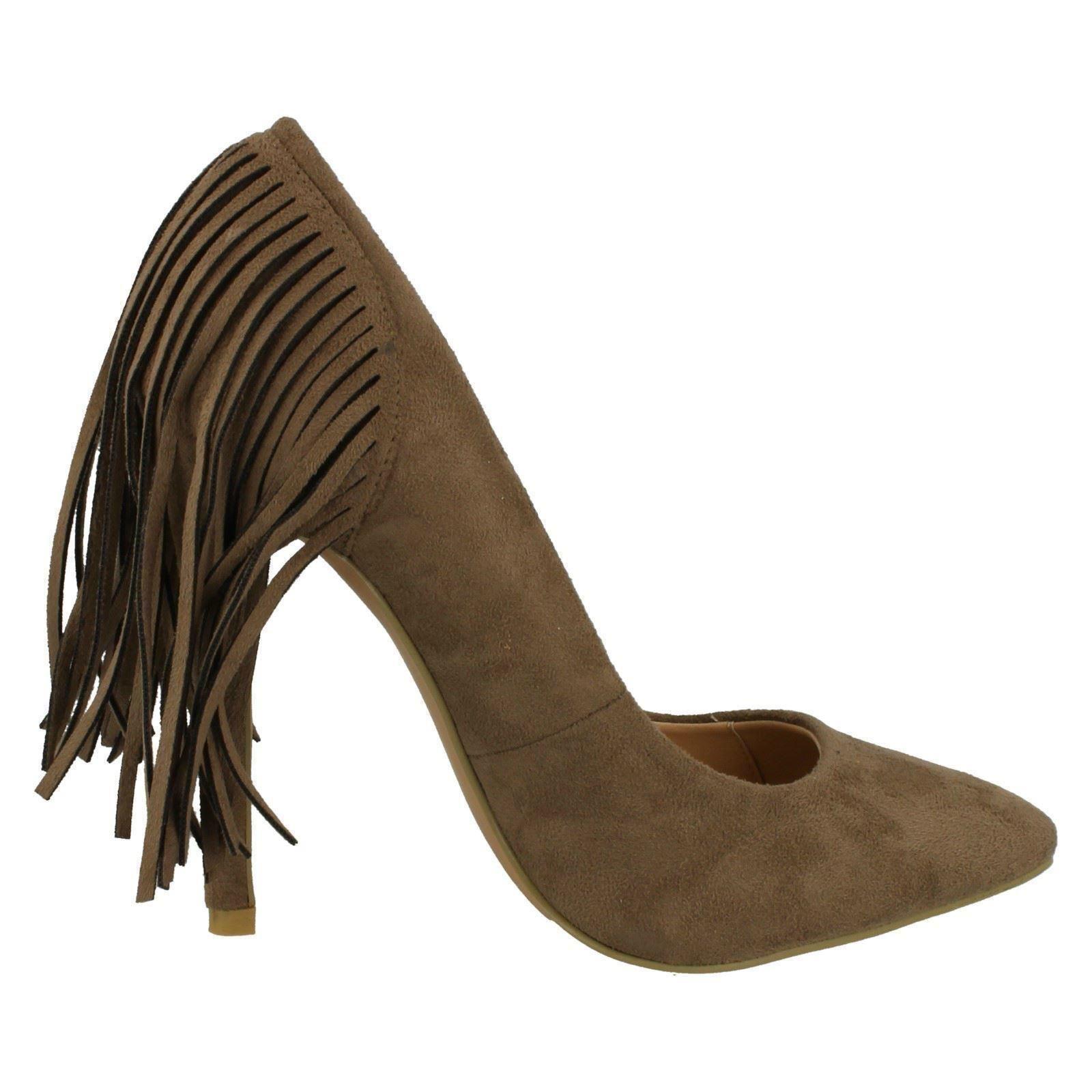 Señoras punto en detalle de flecos estilo Tribunal Zapatos F9879 ~ K