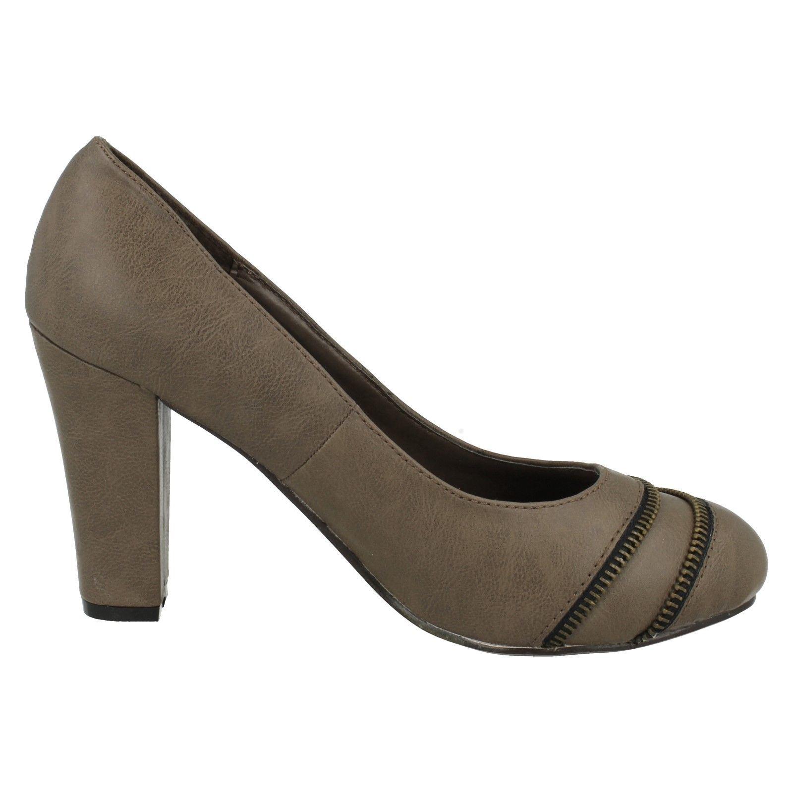 Damas Spot On Tacón Alto Zapatos Tribunal Etiqueta-F9462