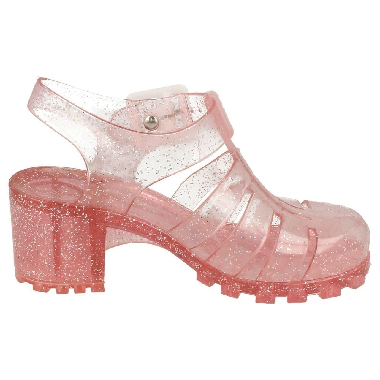 SALE NOW £2.99 Girls Spot On Jelly Sandals in Black Glitter H3040