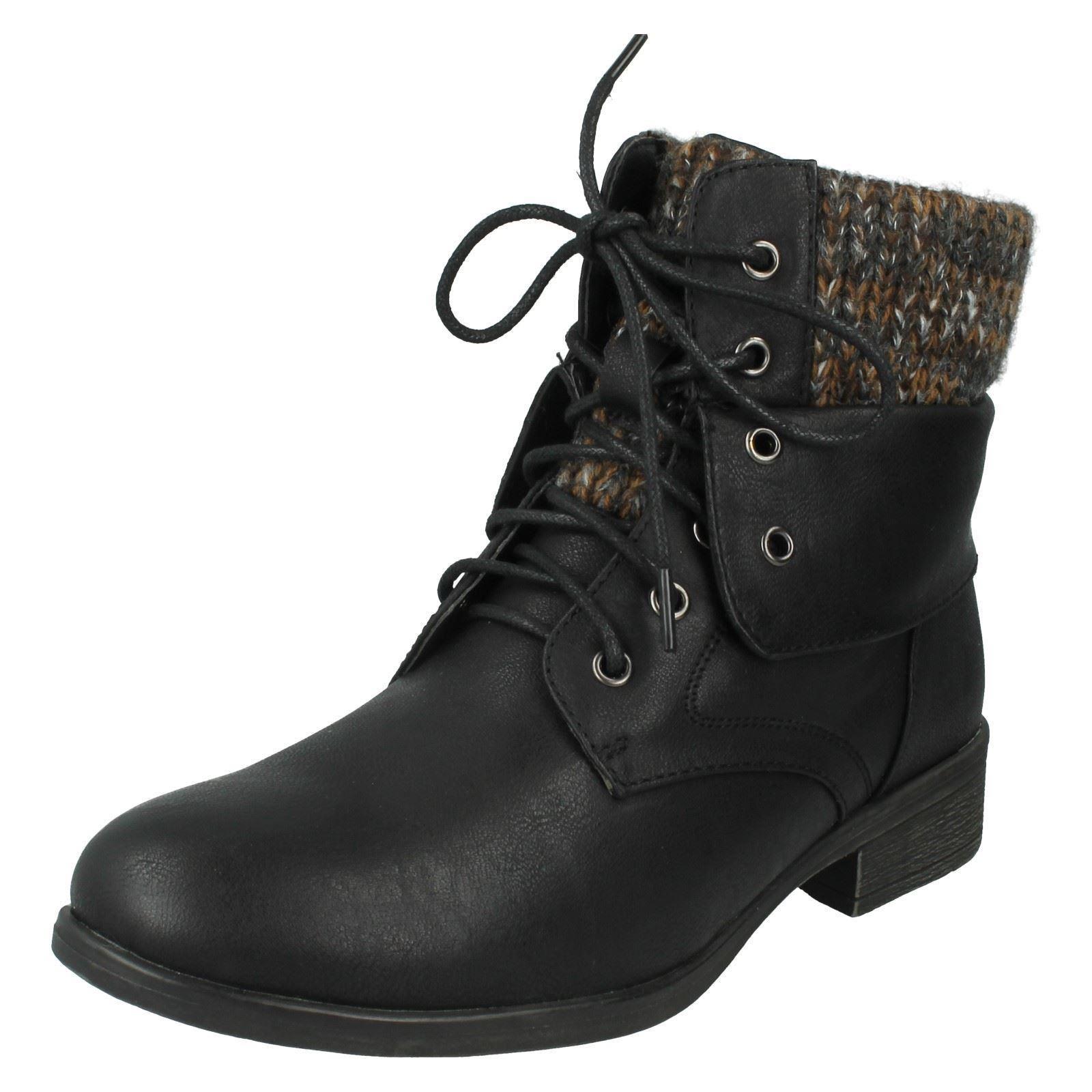 Damas Spot On Botas al tobillo con Cordones de etiqueta-F50613